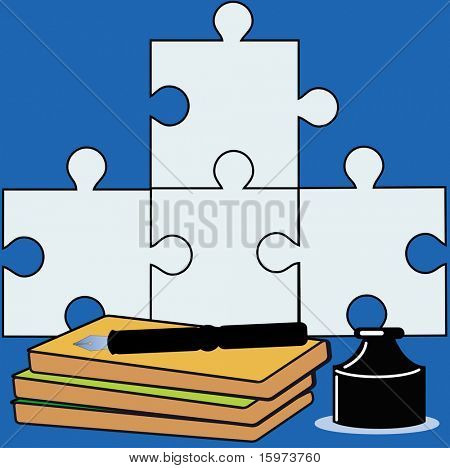 back to school  / writers's block  / business meeting puzzle concept vector