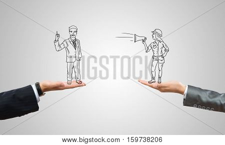 Drawn businesspeople in human palms on gray background