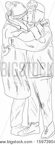 illustration with kissing couple in winter dress sketch isolated on white background