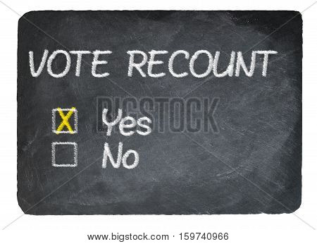 Vote Recount Concept Using Chalk On Slate Blackboard