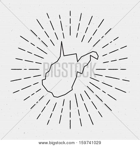 Vector West Virginia Map Outline With Retro Sunburst Border. Hand Drawn Hipster Decoration Element.