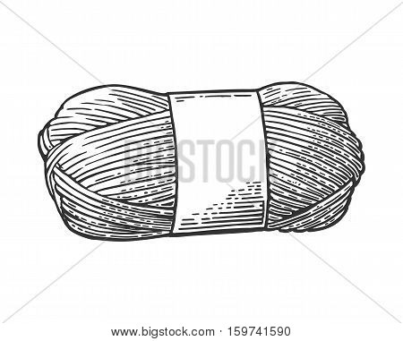 Roll yarn with woolen thread for knitting. Hand drawn in a graphic style. Vintage vector engraving illustration for info graphic poster web. Isolated on white background