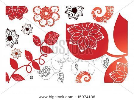 stylized fall leaves vector