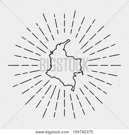 Vector Colombia Map Outline With Retro Sunburst Border. Hand Drawn Hipster Decoration Element. Black