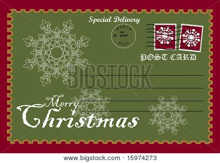 "christmas post card ""special delivery"" vector"