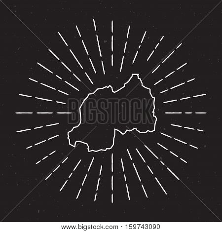 Rwanda Vector Map Outline With Vintage Sunburst Border. Hand Drawn Map With Hipster Decoration Eleme