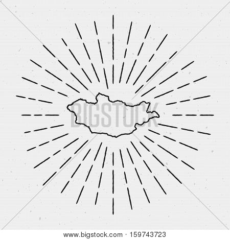 Vector Mongolia Map Outline With Retro Sunburst Border. Hand Drawn Hipster Decoration Element. Black