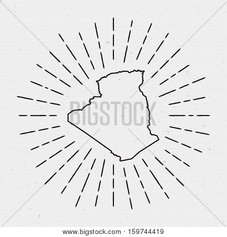 Vector Algeria Map Outline With Retro Sunburst Border. Hand Drawn Hipster Decoration Element. Black