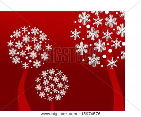snowflake trees on red