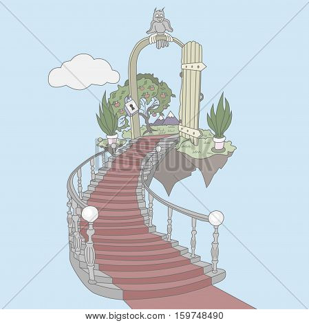 The path up the stairs to the heavenly and beautiful paradise
