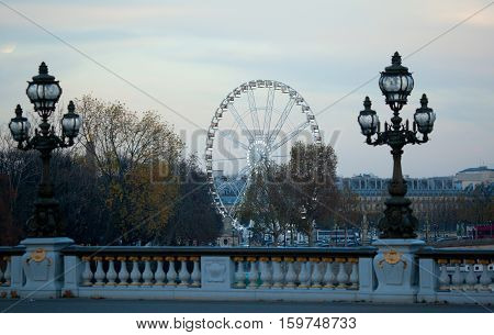 Winter Season In Paris. The Observation Wheel On The Concorde Square, Seen From The Pont Alexandre I