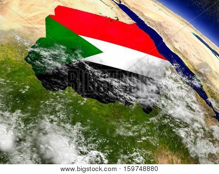Sudan With Embedded Flag On Earth