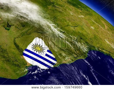 Uruguay With Embedded Flag On Earth