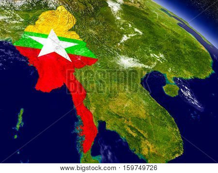Myanmar With Embedded Flag On Earth