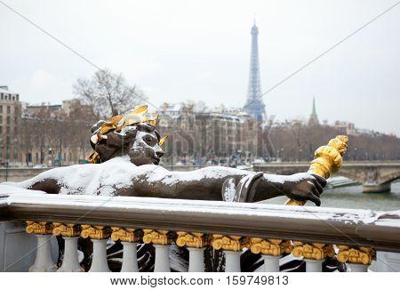 Winter In Paris. Pont Alexandre Iii Under Snow