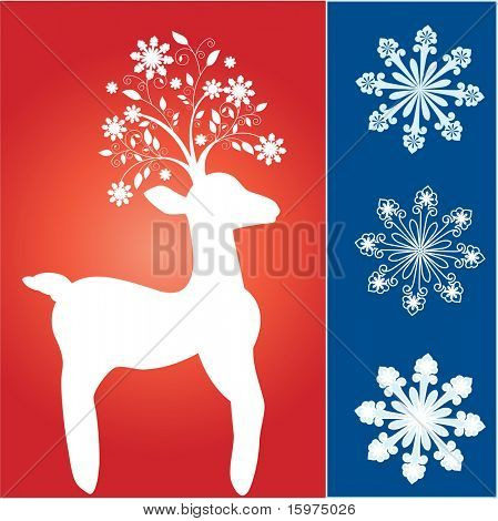 funky reindeer with fun snowflake tree antlers