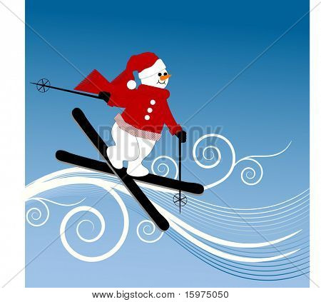 snow coils with snowman skiing