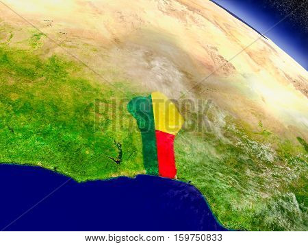 Benin With Embedded Flag On Earth