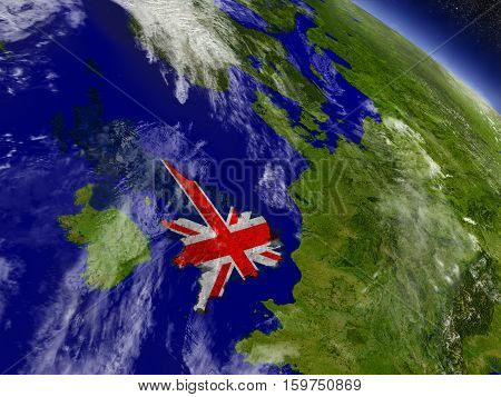United Kingdom With Embedded Flag On Earth
