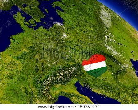 Hungary With Embedded Flag On Earth