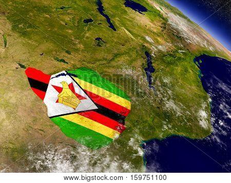 Zimbabwe With Embedded Flag On Earth