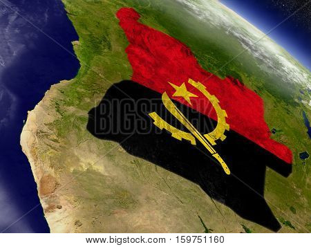 Angola With Embedded Flag On Earth