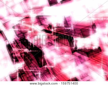 Abstract tech background - computer-generated 3d illustration. Fractal geometry: pink glass rectangles with light effects and perspective.