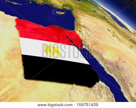 Egypt With Embedded Flag On Earth