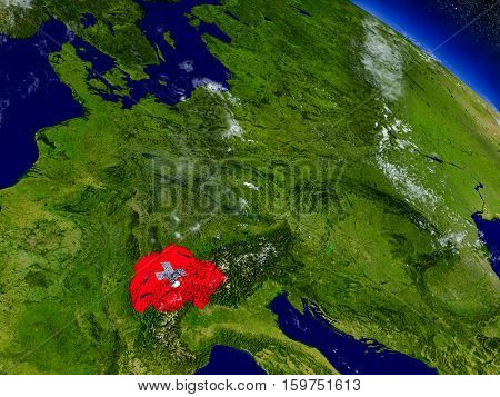 Switzerland With Embedded Flag On Earth