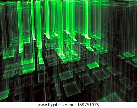 Technology background - abstract computer-generated 3d illustration. Fractal geometry: aspiring upward translucent green  columns, like glass, rectangles. Backdrop for tech or industrial design.