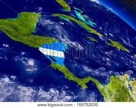 Nicaragua With Embedded Flag On Earth