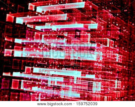 Abstract tech fractal background - computer-generated 3d illustration. Digital art: glass cube structure with red rectangular grid, perspective, stars and glowing dots.