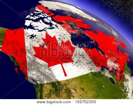 Canada With Embedded Flag On Earth