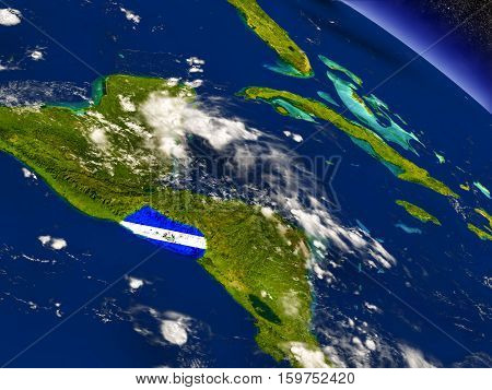 El Salvador With Embedded Flag On Earth