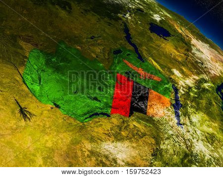 Zambia With Embedded Flag On Earth