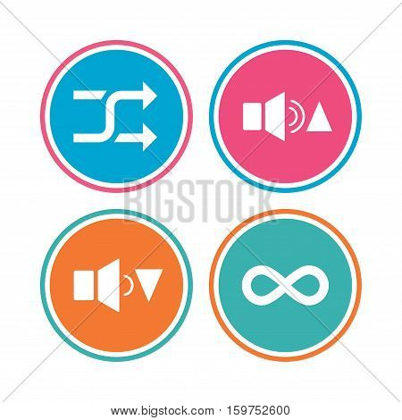 Player control icons. Sound louder and quieter signs. Dynamic symbol. Shuffle random and repeat loop. Colored circle buttons. Vector