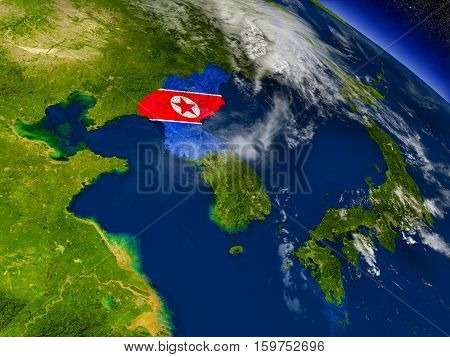 North Korea With Embedded Flag On Earth
