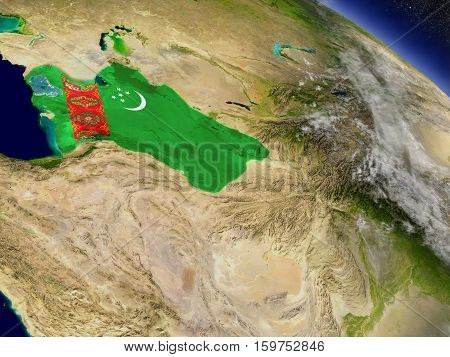 Turkmenistan With Embedded Flag On Earth