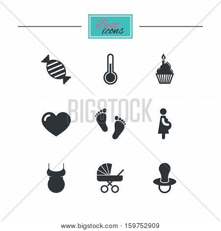 Pregnancy, maternity and baby care icons. Candy, baby carriage and pacifier signs. Footprint, cake and thermometer symbols. Black flat icons. Classic design. Vector
