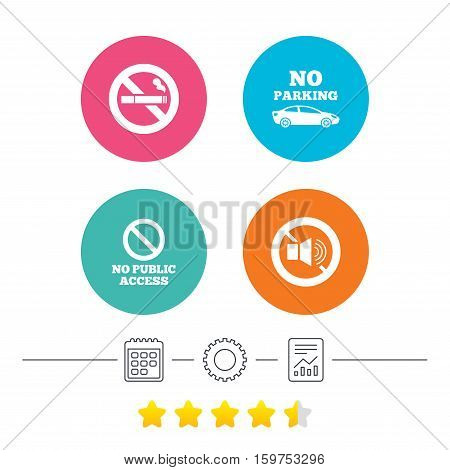 Stop smoking and no sound signs. Private territory parking or public access. Cigarette symbol. Speaker volume. Calendar, cogwheel and report linear icons. Star vote ranking. Vector