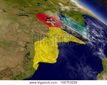 Mozambique With Embedded Flag On Earth