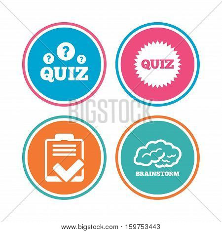 Quiz icons. Brainstorm or human think. Checklist symbol. Survey poll or questionnaire feedback form. Questions and answers game sign. Colored circle buttons. Vector