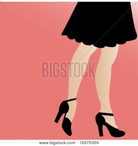 legs heels and skirt