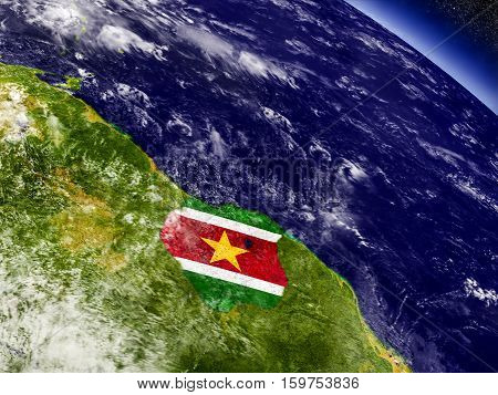 Suriname With Embedded Flag On Earth