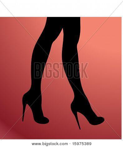 Beine mit Fersen-silhouette