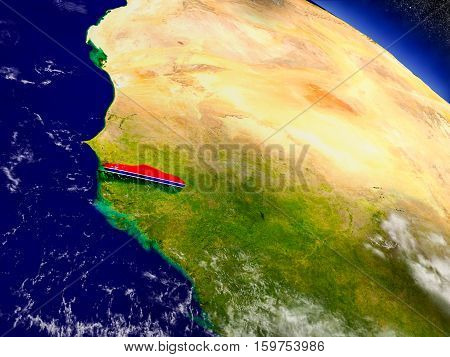 Gambia With Embedded Flag On Earth