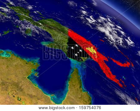 Papua New Guinea With Embedded Flag On Earth