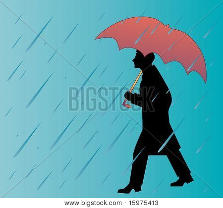 man walking in the rainwith umbrealla