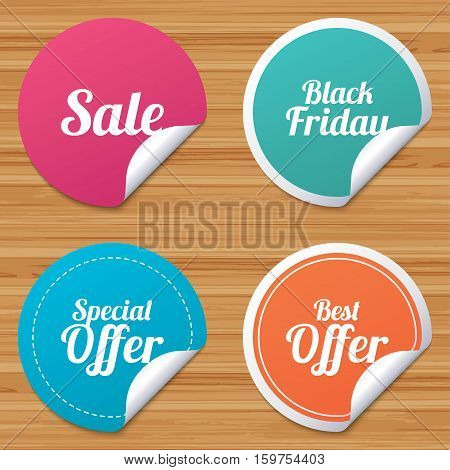 Round stickers or website banners. Sale icons. Best special offer symbols. Black friday sign. Circle badges with bended corner. Vector