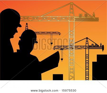 workers reading plan with cranes behind (workers one unit  - cranes on individual layers)